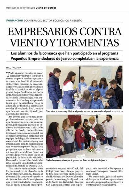 Pequeños Emprendedores Diario de Burgos 30-05-2018
